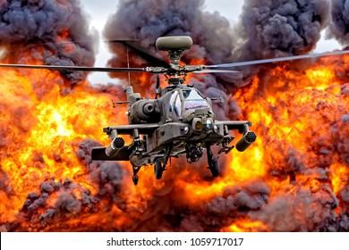Fairford, Gloucestershire, UK - July 16, 2017: An AgustaWestland Apache AH1