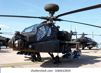 Fairford, Gloucestershire, UK - July 16, 2005: An AgustaWestland WAH-64 Apache AH.1 helicopter gunship of 301 Squadron