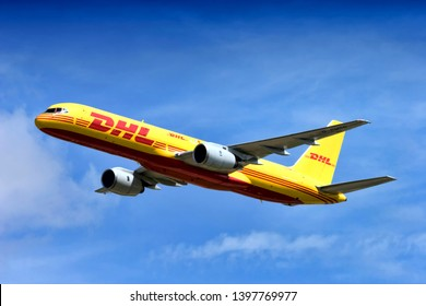 Fairford, Gloucestershire / UK - July 16 2005: A Boeing 757-236SF, G-BMRD, operated by DHL AIR CARGO LTD the international parcel courier based at  the East Midlands Airport in the UK