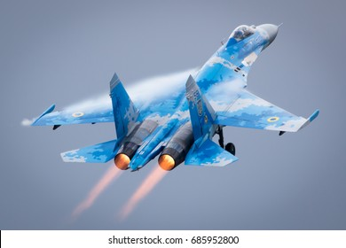 Fairford, Gloucestershire, UK - July 16th, 2017: Ex-Russian Soviet Cold War Ukrainian Sukhoi SU-27 Flanker Displays at the Fairford International Air Tattoo 2017