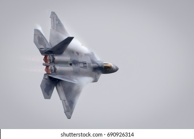 Fairford, Gloucestershire, UK - July 16th, 2017: Lockheed Martin F-22 Raptor performing at Fairford International Air Tattoo 2017