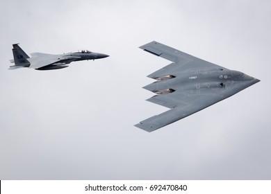 Fairford, Gloucestershire, UK - July 16th, 2017: Northrop Grumman B-2 Spirit Stealth Bomber flypast at Fairford International Air Tattoo 2017