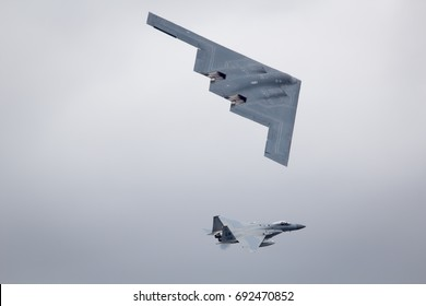 Fairford, Gloucestershire, UK - July 16th, 2017: Northrop Grumman B-2 Spirit Stealth Bomber flypast at Fairford International Air Tattoo 2017