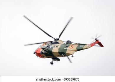 Fairford, Gloucestershire, UK - July 16th, 2017: Belgian Coast Guard Sikorsky SH-3 Sea King at Fairford International Air Tattoo 2017