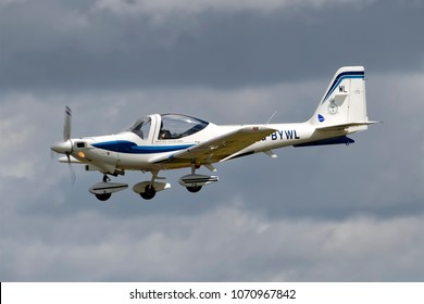 Fairford, Gloucestershire, UK - July 17, 2010: An RAF Grob Tutor T1  No 115(R) Squadron /1EFTS, RAF Cranwell at an airshow
