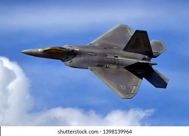 Fairford, Gloucestershire /UK - July 17 2010: A Lockheed Martin/Boeing F22A Raptor fighter aircraft of the United States Air Force Air Combat Command Wing Raptor Demonstration Team