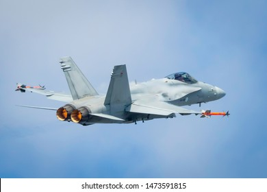 Fairford, Gloucestershire, UK - July 20th, 2019: Hungarian Air Force Mcdonnell Douglas F/A-18 Hornet performing its Aerobatic Display at Fairford International Air Tattoo RIAT 2019