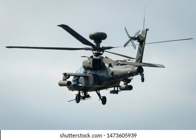 Fairford, Gloucestershire, UK - July 20th, 2019: Boeing AH-64D Longbow Apache Displays at the Fairford International Air Tattoo 2019