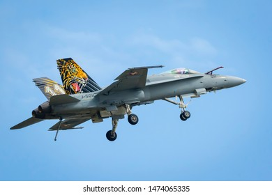 Fairford, Gloucestershire, UK - July 20th, 2019: Swiss Air Force Mcdonnell Douglas F/A-18 Hornet performing its Aerobatic Display at Fairford International Air Tattoo RIAT 2019