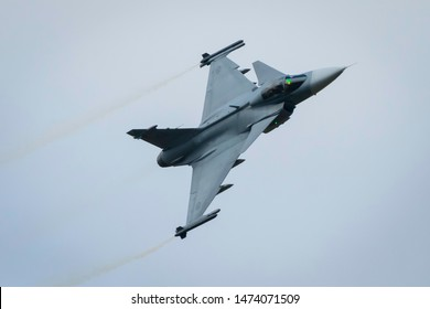 Fairford, Gloucestershire, UK - July 20th, 2019: Saab JAS 39 Gripen displaying at Fairford International Air Tattoo 2019