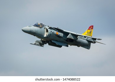 Fairford, Gloucestershire, UK - July 20th, 2019: Spanish Navy EAV-8B Harrier II Displays at the Fairford International Air Tattoo 2019
