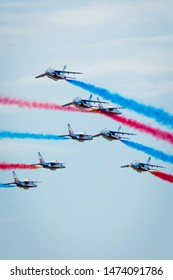 Fairford, Gloucestershire, UK - July 20th, 2019: The French Air Force Patrouille de France performs at Fairford International Air Tattoo 2019