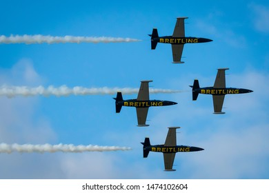 Fairford, Gloucestershire, UK - July 20th, 2019: The Breitling Display Team L-39 Albatros perform at Fairford International Air Tattoo 2019