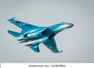 Fairford, Gloucestershire, UK - July 20th, 2019: Ex-Russian Soviet Cold War Ukrainian Sukhoi SU-27 Flanker Displays at the Fairford International Air Tattoo 2019