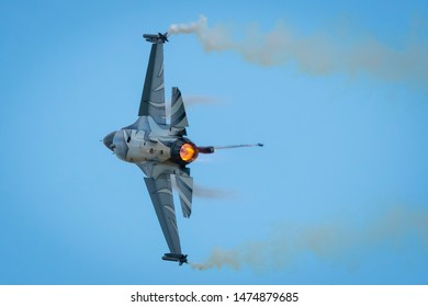 Fairford, Gloucestershire, UK - July 20th, 2019: Belgian Air Force Lockheed Martin General Dynamics F-16 Fighting Falcon completes its Aerobatic Display at Fairford International Air Tattoo RIAT
