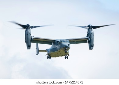 Fairford, Gloucestershire, UK - July 20th, 2019: a USAF Bell Boeing V-22 Osprey performs at Royal International Air Tattoo