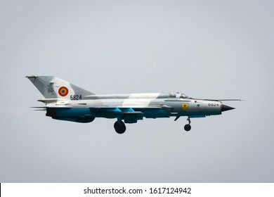 Fairford, Gloucestershire, UK - July 20th, 2019: Ex-Russian Soviet Cold War Romanian MiG-21 Fishbed Displays at the Fairford International Air Tattoo 2019