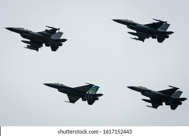 Fairford, Gloucestershire, UK - July 20th, 2019: Lockheed Martin General Dynamics F-16 Fighting Falcon completes its Aerobatic Display at Fairford International Air Tattoo RIAT