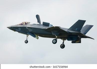 Fairford, Gloucestershire, UK - July 20th, 2019: An RAF Lockheed Martin F-35 Lightning II displays at Fairford International Air Tattoo