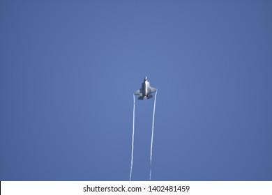 Fairford, UK- 07/15/18: A USAF F-35 Lightning II displays over the Royal International Air Tattoo 2018