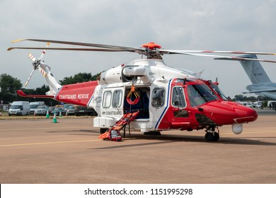 FAIRFORD, UK - JUL 13, 2018: AgustaWestland AW189 coastguard rescue helicopter from Bristow Helicopters on the tarmac of Fairford airbase.