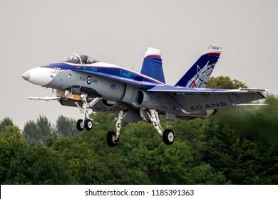 FAIRFORD, UK - JUL 13, 2018: Canadian Air Force F-18 Hornet fighter jet landing on RAF Fairford airbase.