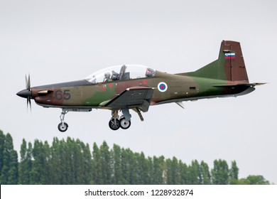 FAIRFORD, UK - JUL 13, 2018: Slovenian Air Force Pilatus PC-9 turboprop military training aircraft landing on RAF Fairford airbase.