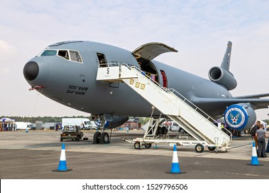 FAIRFORD, UK - JUL 13, 2018: US Air Force KC-10A Extender tanker aircraft on display at RAF Fairford airbase.