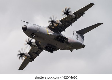 FAIRFORD, UK - JULY 10: An Airbus A400M military transport aircraft participates in the Royal International Air Tattoo airshow, RAF Fairford, July 10, 2016 in Fairford, UK.