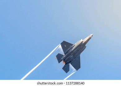 FAIRFORD, UK, JULY 13 2018: A photograph documenting a Lockheed Martin F-35 Lightning II stealth multirole fighter aircraft from the USAF displaying for the Royal International Air Tattoo 2018