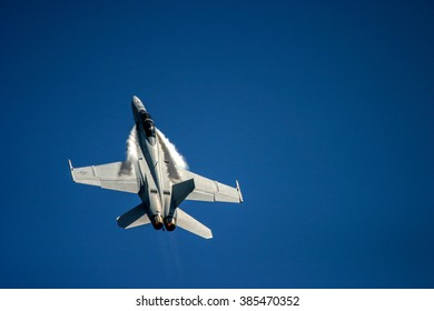 FAIRFORD, UK - JULY 16, 2006: McDonnell Douglas F/A-18 Hornet performs at the Royal air tattoo at RAF fairford