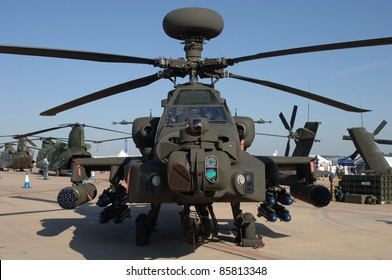 FAIRFORD, UK - JULY 16: Royal Army AH-64D Longbow Apache Helicopter static display during the Royal International Air Tattoo on July 16, 2005 in Fairford, UK.