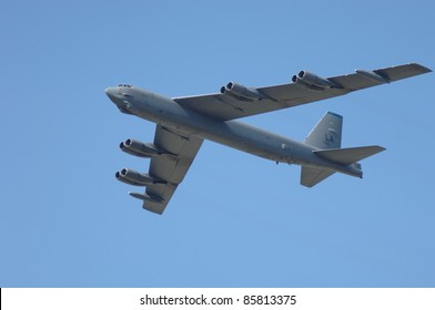 FAIRFORD, UK - JULY 16: U.S. Air Force B-52 performs a flypast display during the Royal International Air Tattoo on July 16, 2005 in Fairford, UK.