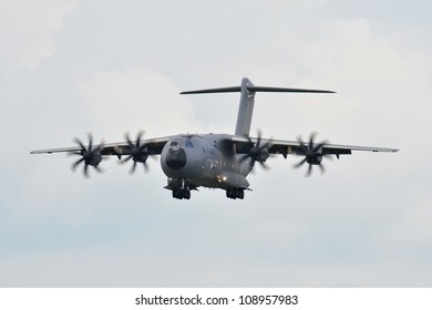 FAIRFORD, UK - JULY 8: Airbus A400 Transport aircraft participates in the Royal International Air Tattoo airshow event July 8, 2009 near Cirencester, England.