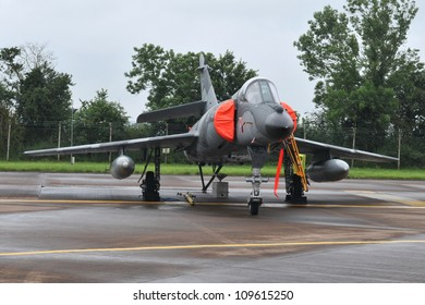 FAIRFORD, UK - JULY 8: French Navy Super Etendard aircraft participates in the Royal International Air Tattoo airshow event July 8, 2012 near Cirencester, England.