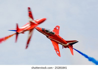FAIRFORD, UNITED KINGDOM - JULY 14: The famous RAF aerobatics team Red Arrows performs at the Royal International Air Tattoo July 14 and 15, 2007 in Fairford.