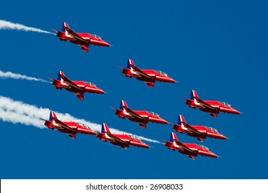 FAIRFORD, UNITED KINGDOM - JULY 15: The RAF aerobatics team Red Arrows perform at the Royal International Air Tattoo July 15 and 16, 2006 in Fairford.