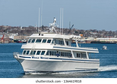 Fairhaven, Massachusetts, USA - April 7, 2019: Whale Watcher cruise boat heading back to Hyannis to start its season