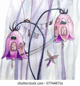 Fairies flowers houses. Watercolor illustration.