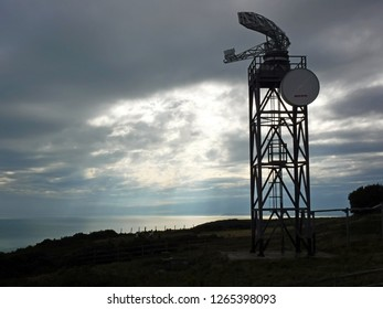 Fairlight, Hastings, East Sussex, England, U.K. - 08/30/2015. The Coastguards Radar Tower at their Fairlight Station on the Firehills, Hastings Country Park in East Sussex, England.