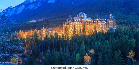 The Fairmont Banff Springs Hotel at night.