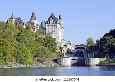 Fairmont Chateau Laurier and Rideau canal locks, Ontario, Canada