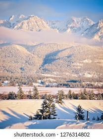 The Fairmont Mountain Range in Fairmont Hot Springs, British Columbia, Canada, in winter.