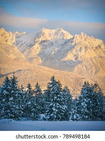 The Fairmont Mountain Range in Fairmont Hot Springs, British Columbia, Canada, in winter.