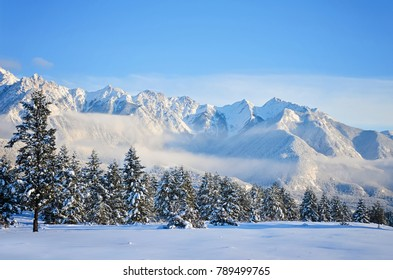 The Fairmont Mountain Range in Fairmont Hot Springs, British Columbia, Canada. Daytime mountain landscape.