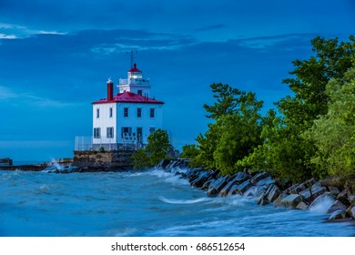 Fairport Harbor West Breakwater Lighthouse at Sunset with Light On