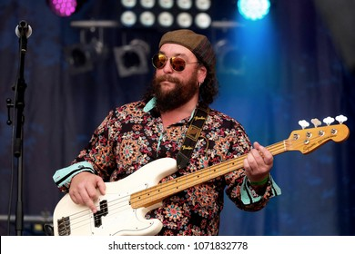 Fairport's Cropredy Convention - August 11th 2017:  Matt Worley  guitarist with Quill performing at Fairport Convention's Cropredy Festival, Oxfordshire, August 11 2017, Banbury, Oxfordshire UK