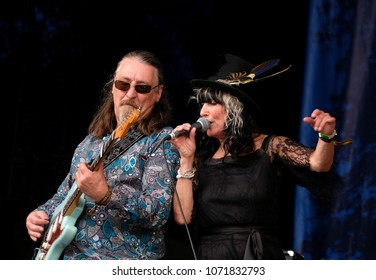 Fairport's Cropredy Convention - August 11th 2017: Joy Strachan-Brain and Tony Kelsey with  Quill performing at Fairport Convention's Cropredy , Oxfordshire, August 11 2017, Banbury, Oxfordshire UK