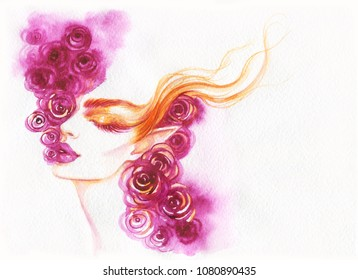 fairy. beautiful woman. fashion illustration. watercolor painting