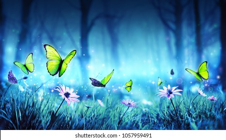 Fairy Butterflies In Mystic Forest - Contain 3d Illustration
